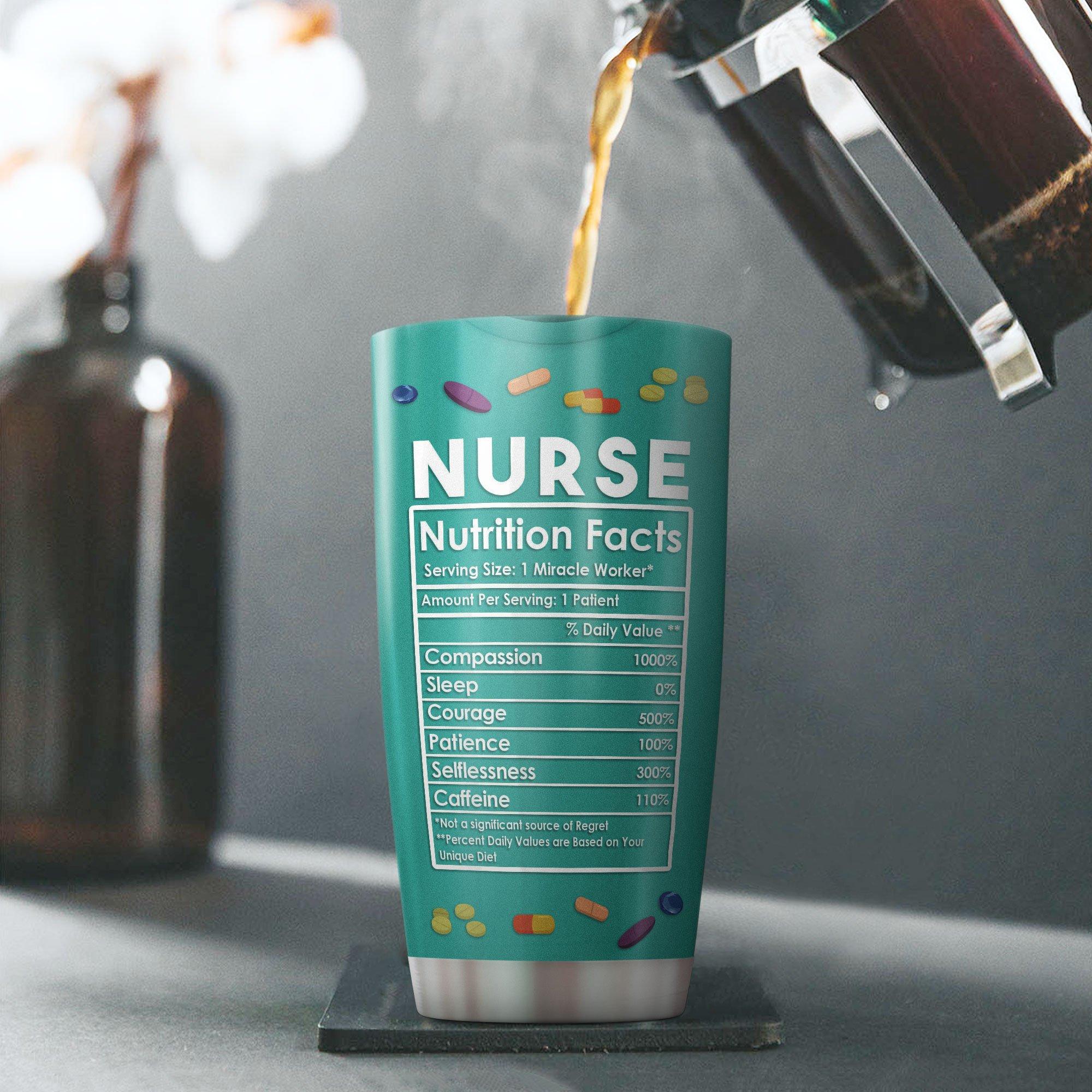 Custom Name Nurse Nutrition Facts Tumbler