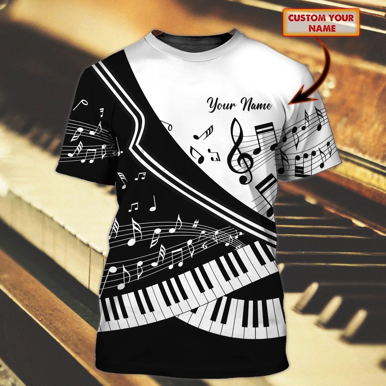 Piano Lover Custom Name 3D Tshirt