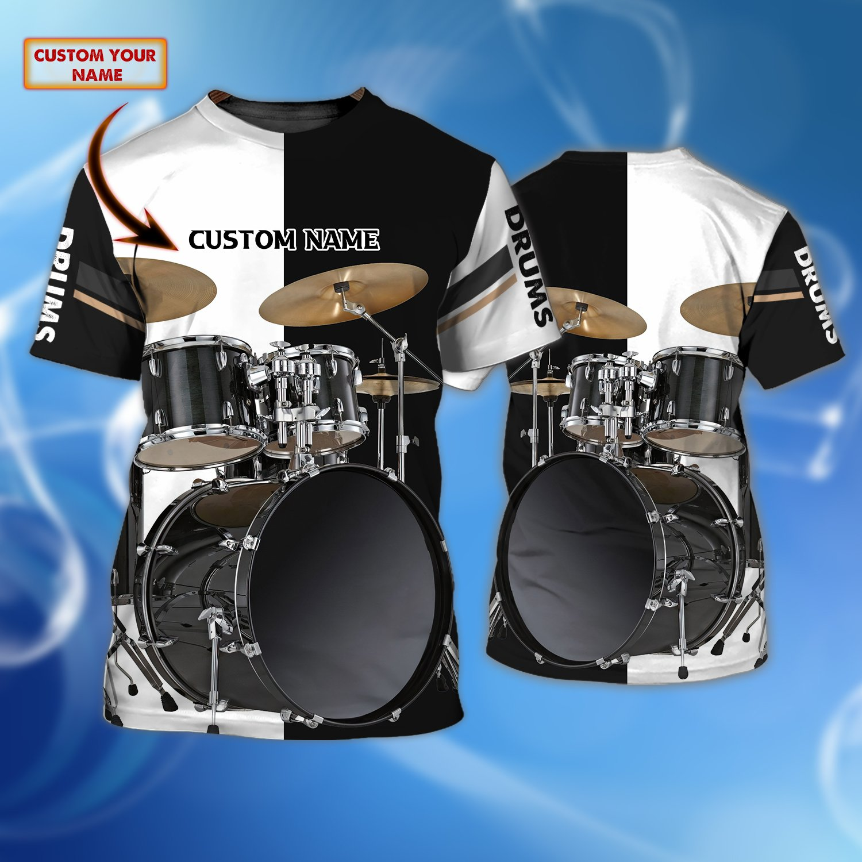 Drum Black And White Custom Name 3D Tshirt