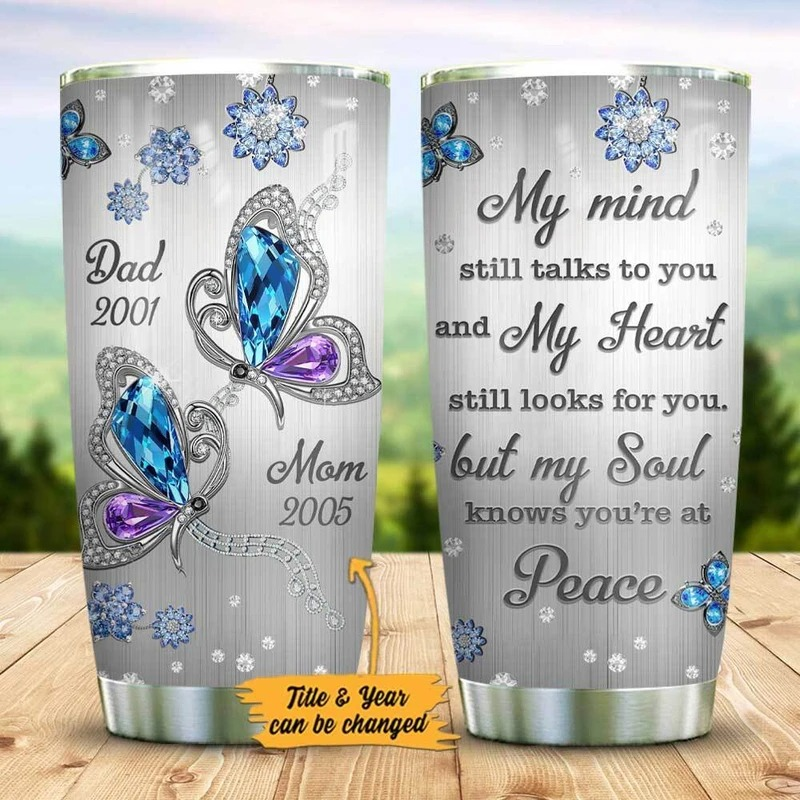 Mom Dad Butterfly My Mind Personalized Tumbler