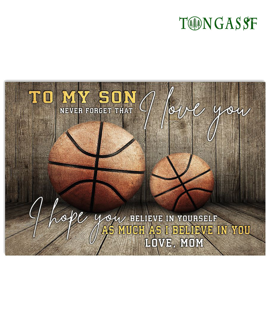 Mother advice son to believe in himself basketball Horizontal poster