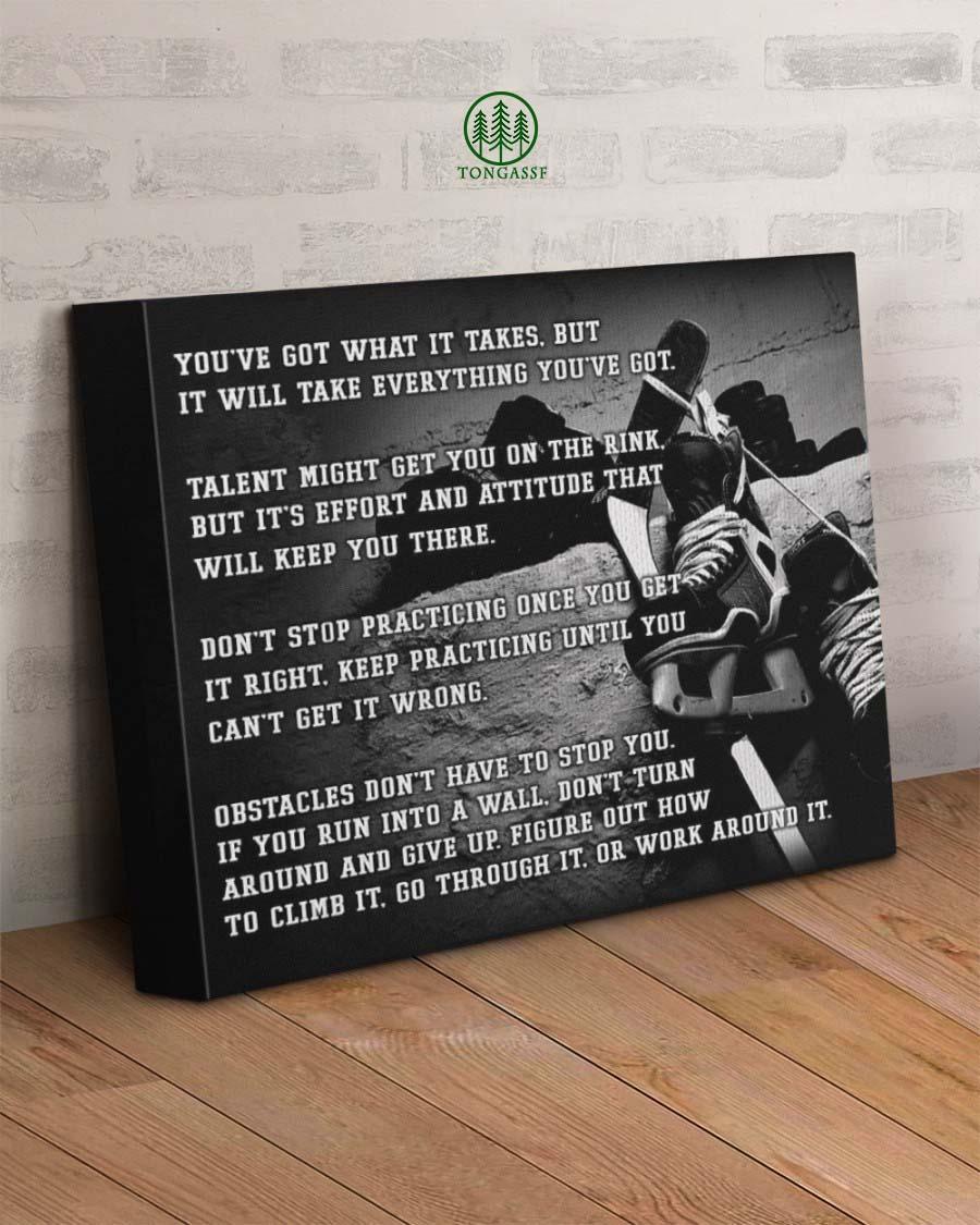 Motivational Hockey Wrapped Canvas Prints