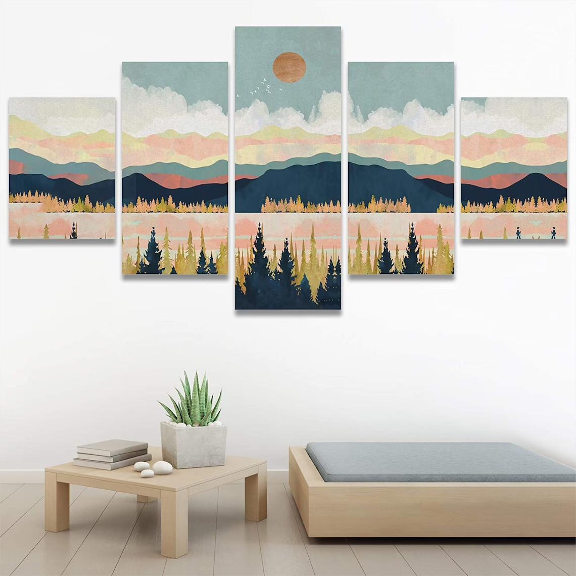 Mountain Sunset 5 panel wall art canvas