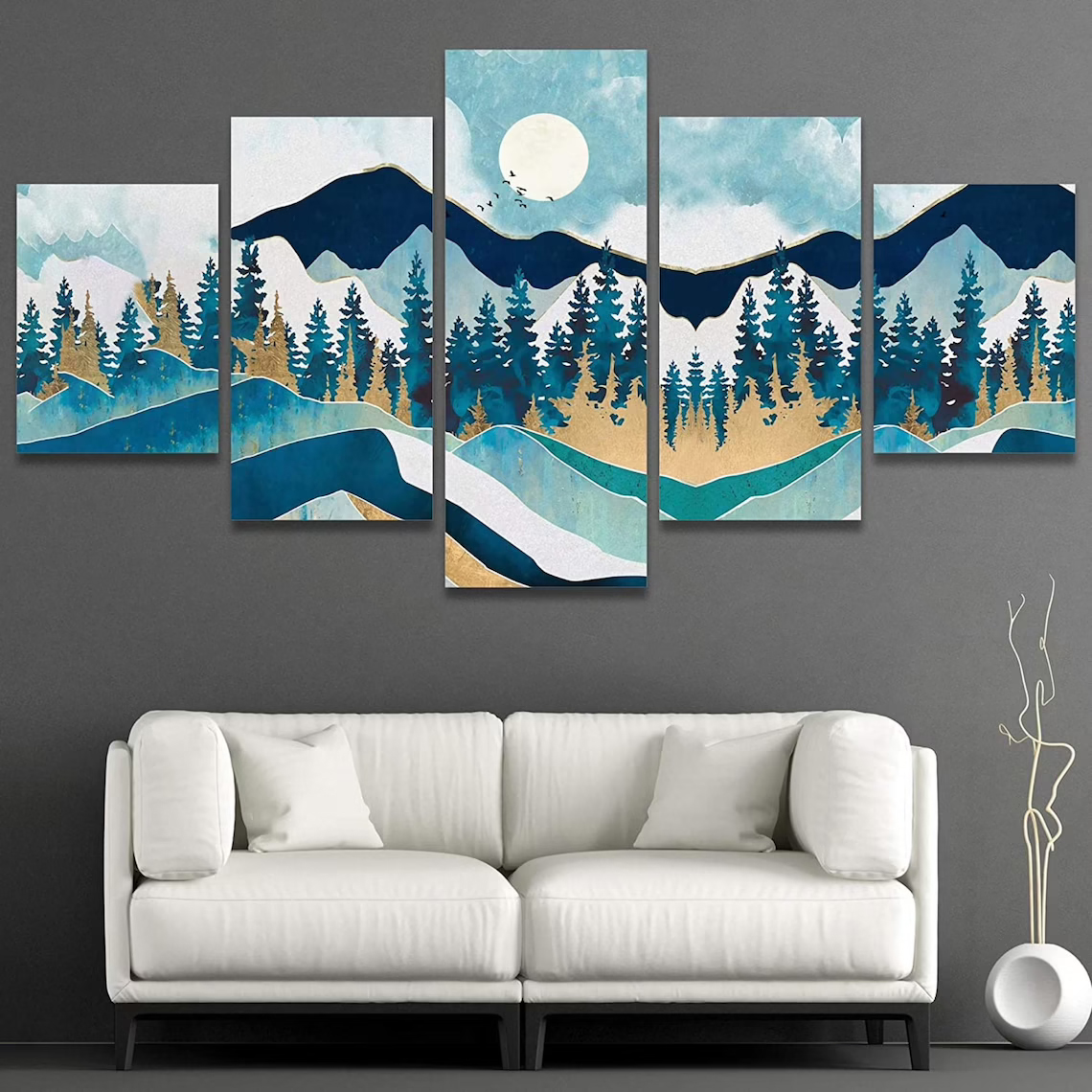 Mountain in Green color 5 piece wall art canvas