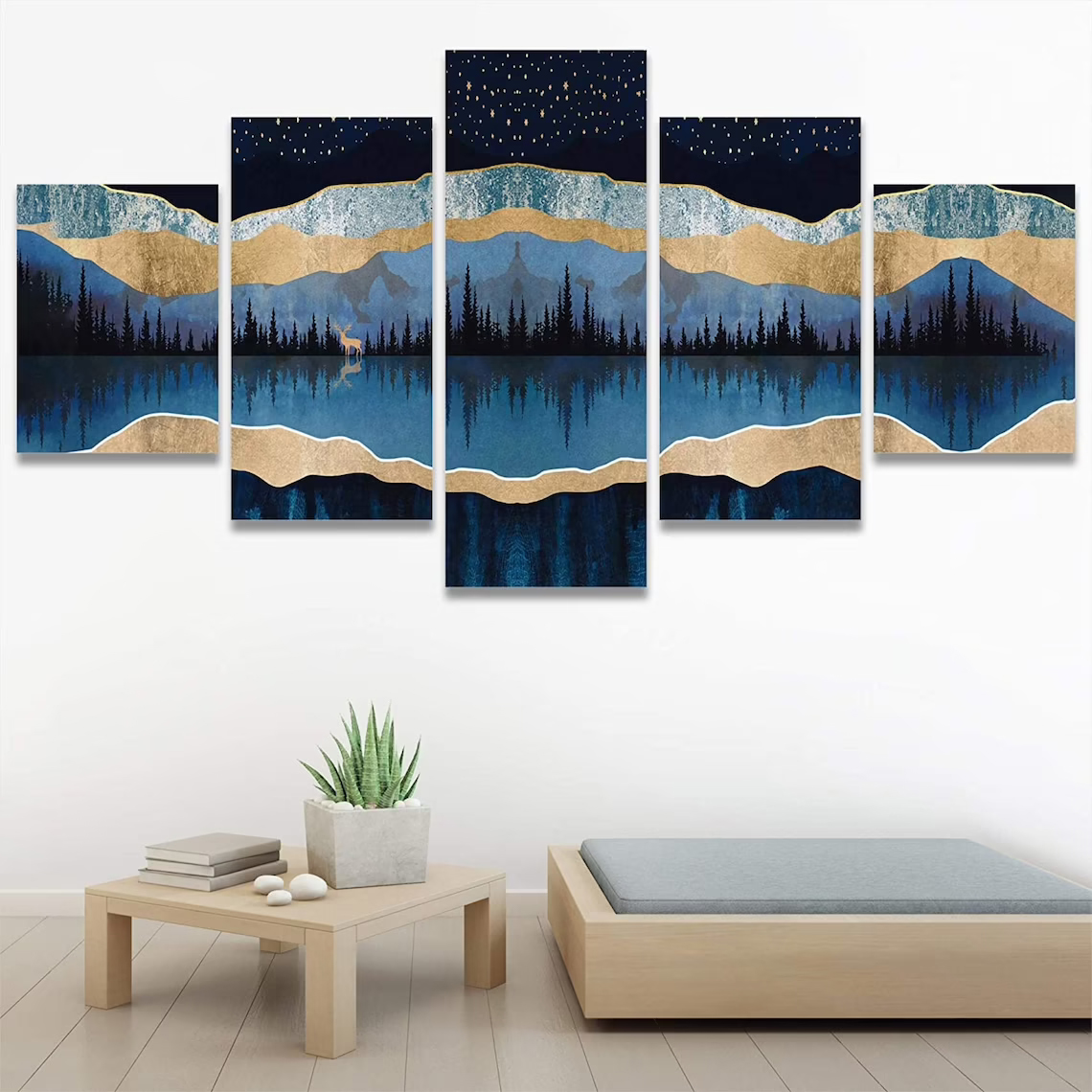 Mountain under blue sky and lake 5 piece wall art canvas