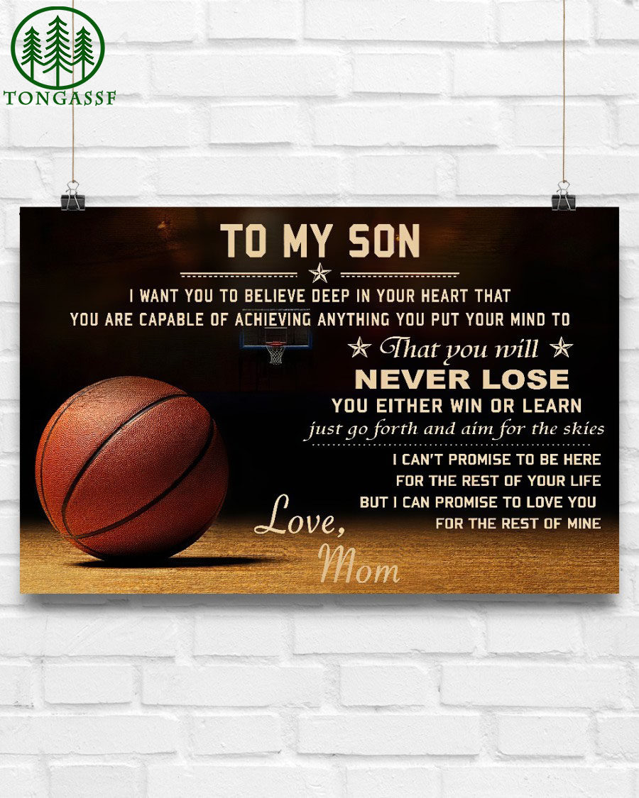 My son always win cannot lose basketball horizontal poster from Mom