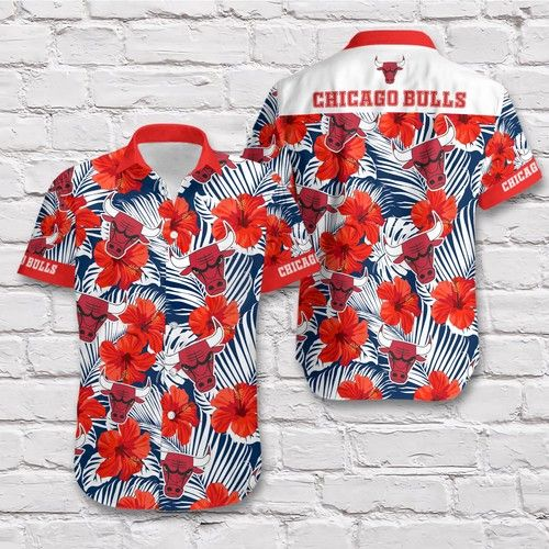 NBA Chicago Bulls Flower Pattern Hawaiian Shirt
