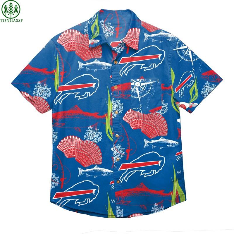 NFL Buffalo Bills Floral Button up Hawaiian shirt