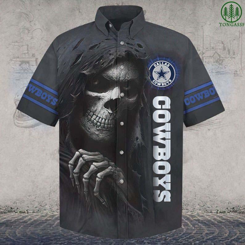 NFL Dallas Cowboys Skull Hawaiin Shirt Button Up Shirt