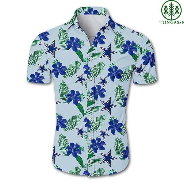 NFL Dallas cowboys logo and flower Hawaiian Shirt