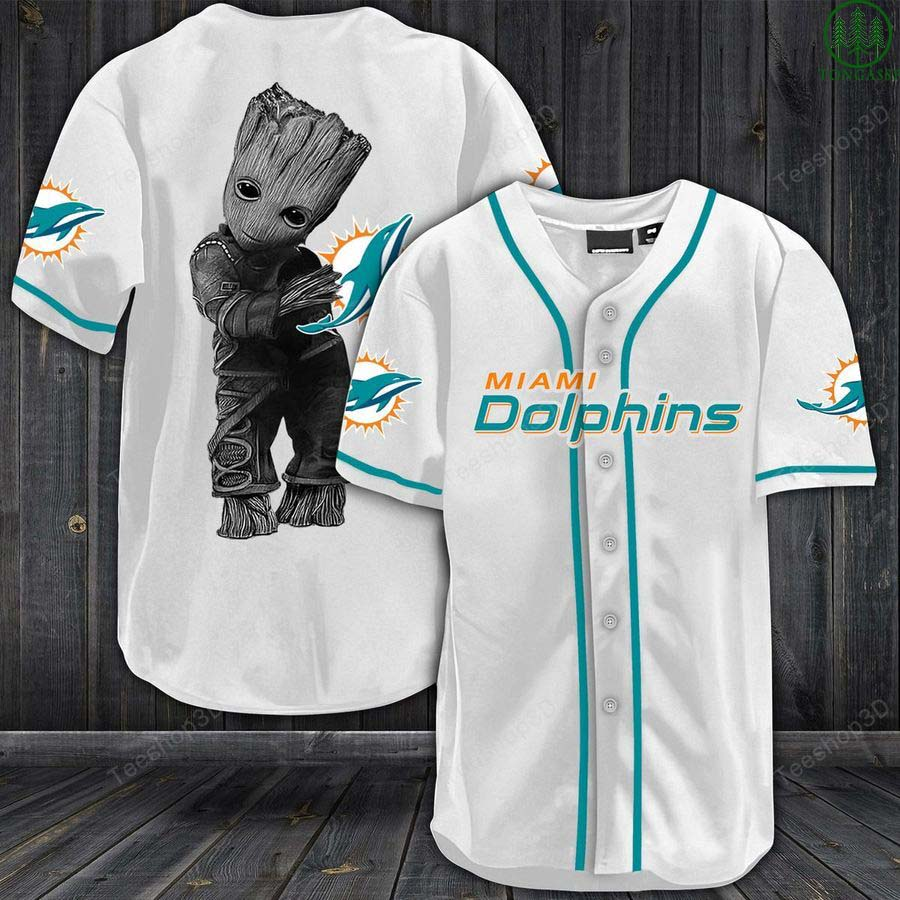 NFL Miami Dolphins Groot Marvel Baseball Jersey Shirt