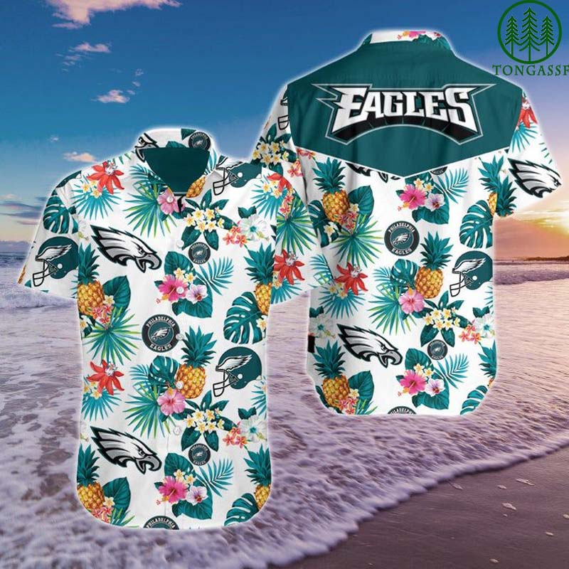 NFL Philadelphia Eagles Floral and pineapple Hawaiian Shirt