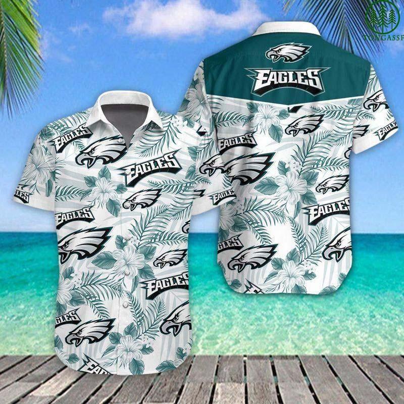 NFL Philadelphia Eagles White Floral Football Hawaiian Shirt