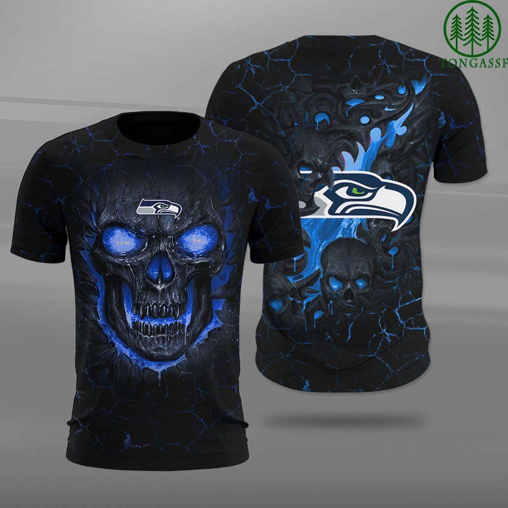 NFL Seattle Seahawks 3D Skull Lava 3D AOP T shirt