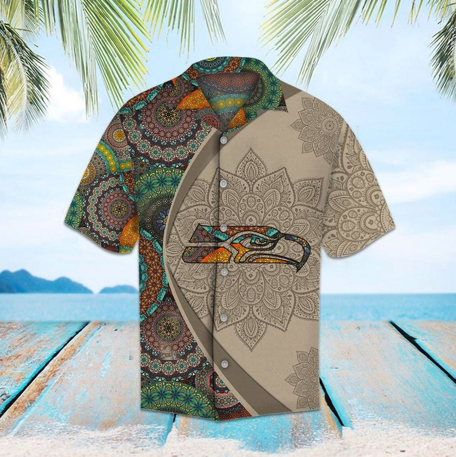 NFL Seattle Seahawks Mandala Hawaiian Shirt Summer Beach For Fans