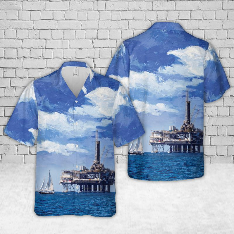 Oil Platform Holly Offshore oil and gas in California Hawaiian Shirt