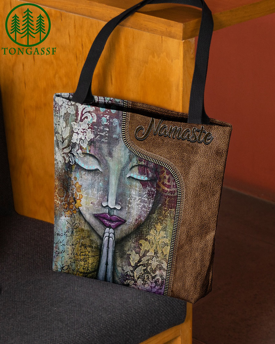 Namaste yoga girl face leather tote bag