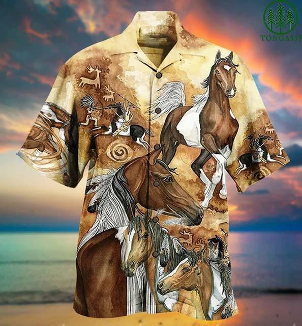 Native American horse style Hawaiian Shirt