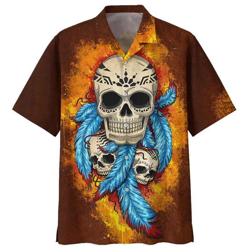 Native Skull Blue Feather Brown HAWAIIAN SHIRT