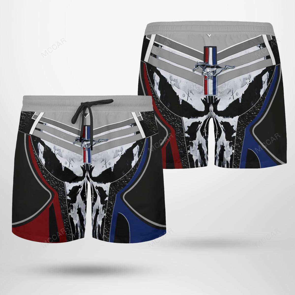 Mustang Skull Full Printed 3D Shorts