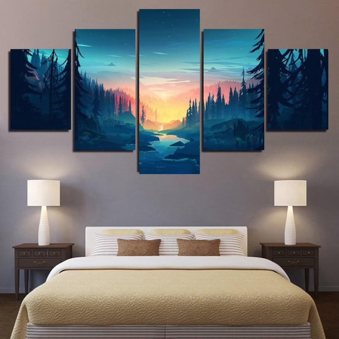 Mountain Wilderness Sunset Bliss 5 Piece Five Panel Canvas Wall Art
