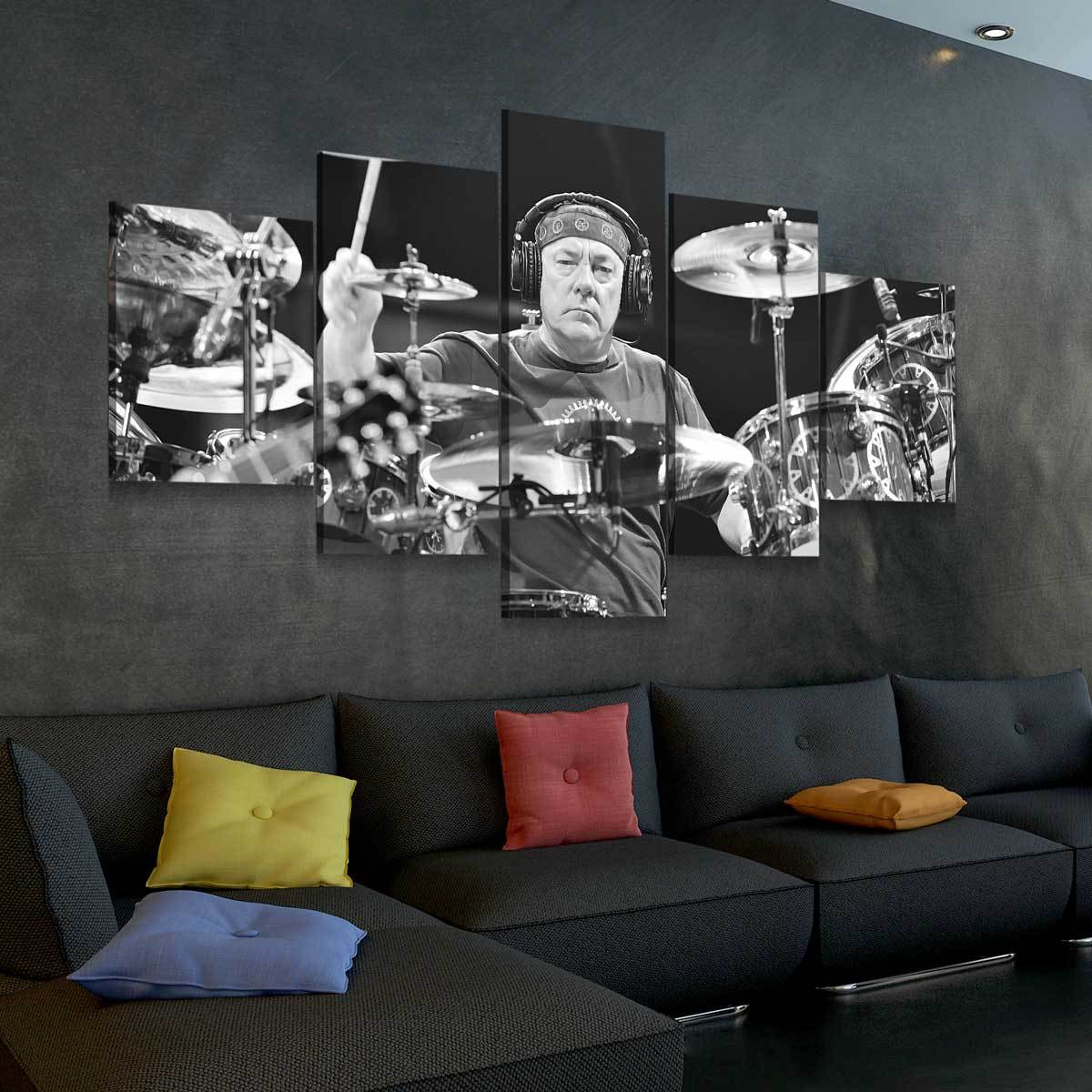 Neil Peart 5 panel canvas wall art