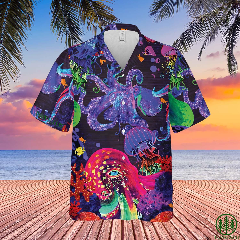 Neon Octopus Hawaiian Shirt