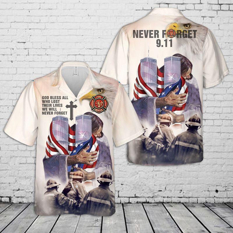 Never Forget 9-11 God Hug Hawaiian Shirt