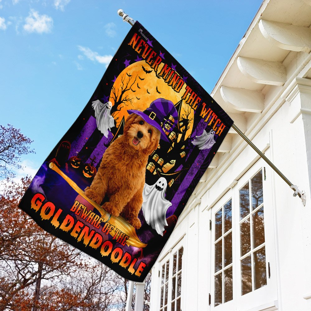 Never Mind The Witch Beware Of The Goldendoodle House Flag Garden Flag
