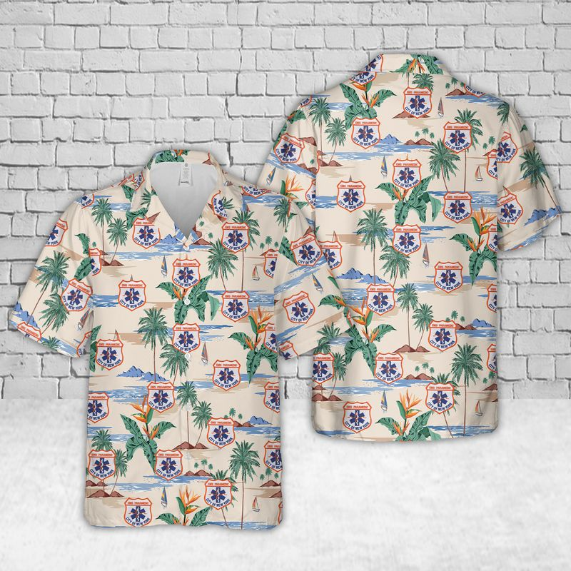 New York City Fire Department Bureau of EMS Hawaiian Shirt and short