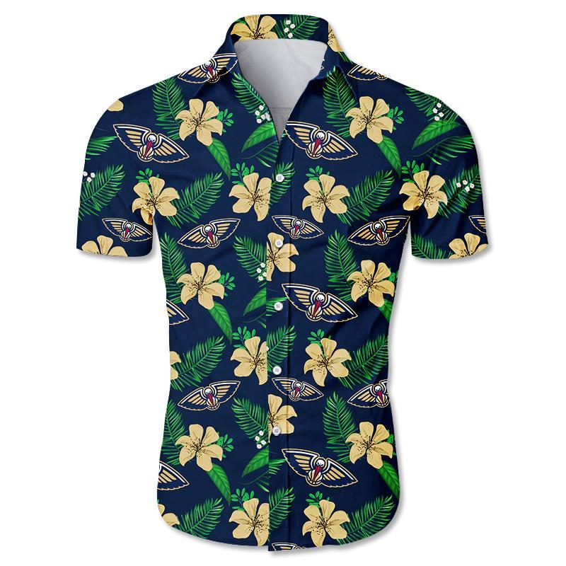NBA New Orleans Pelicans Floral Hawaiian Shirt Small Flowers