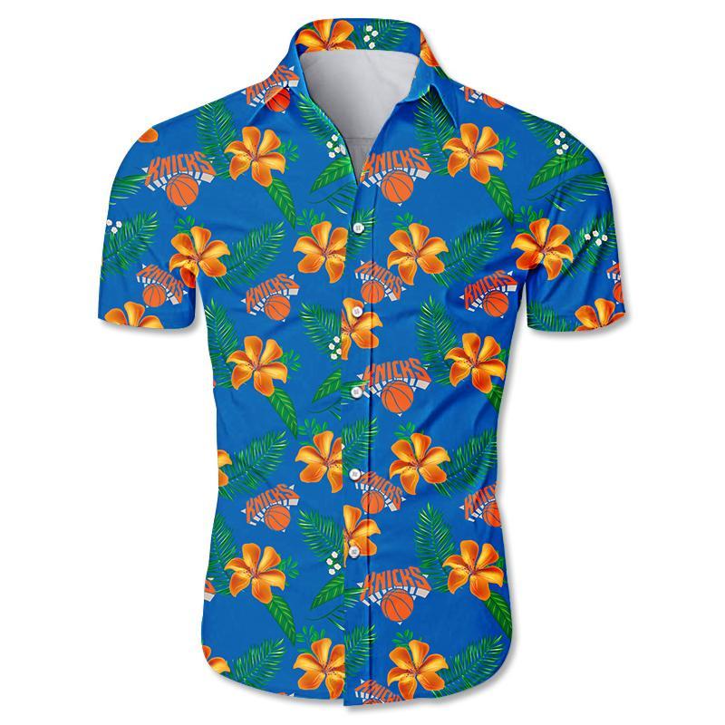 NBA New York Knicks Floral Hawaiian Shirt Small Flowers