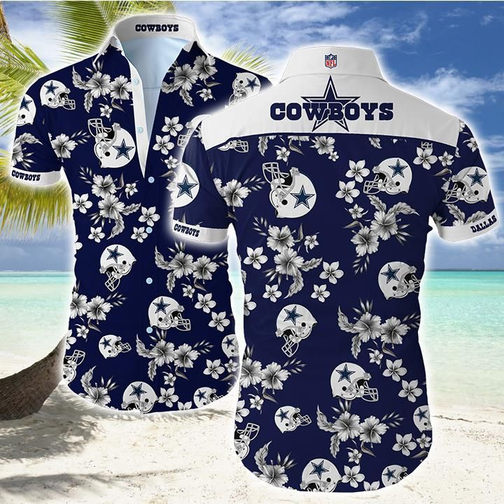 Nfl Dallas Cowboys floral helmet Hawaiian Shirt