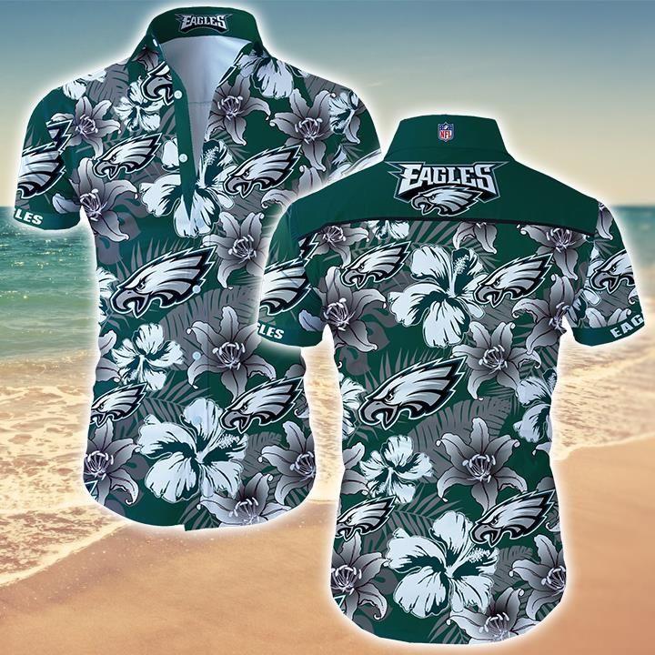 Nfl Philadelphia Eagles Tropical Floral Hawaiian Shirt
