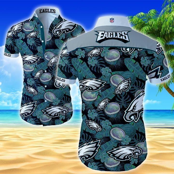 Nfl Philadelphia Eagles tropical coconut Hawaiian Shirt Button Shirt
