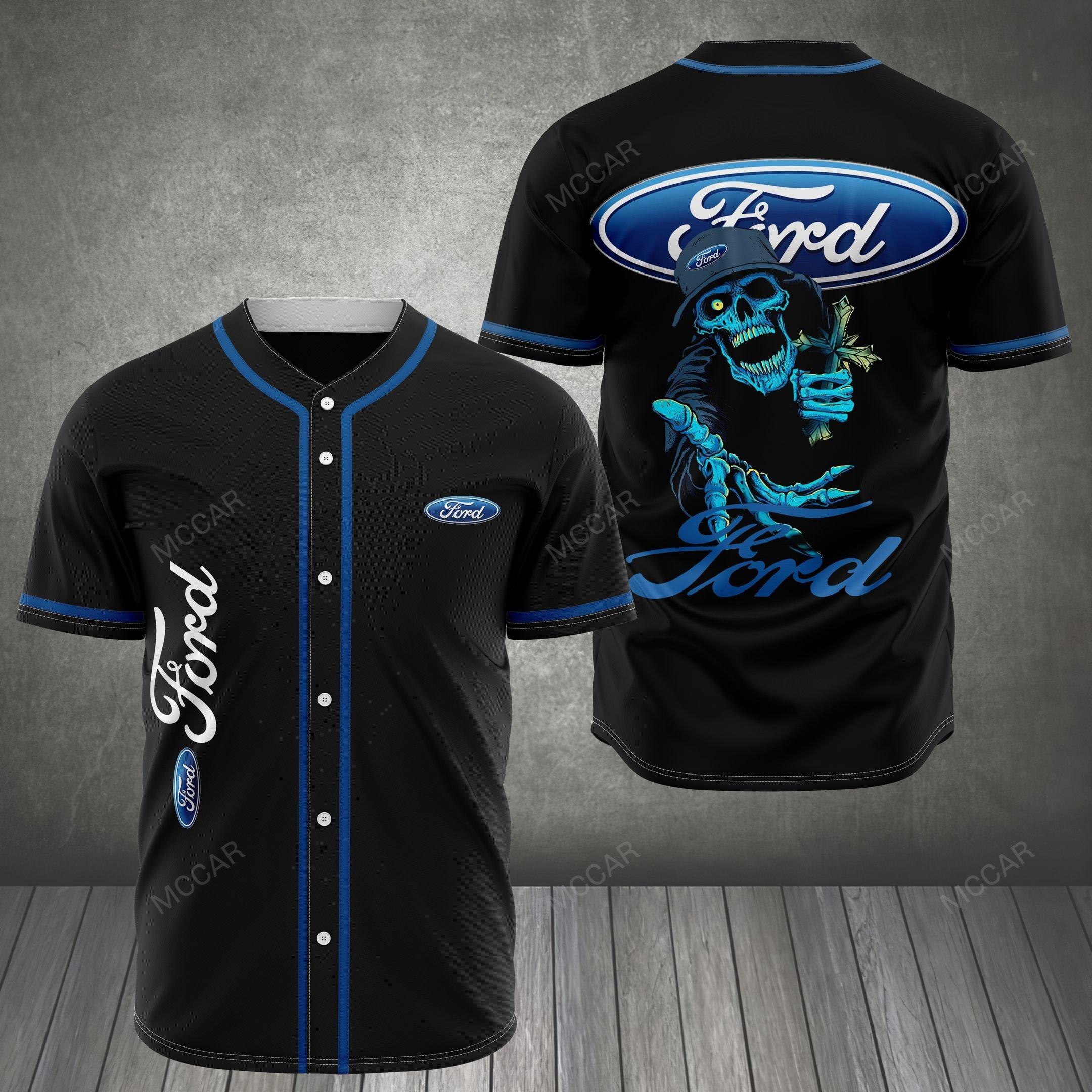 FORD and skull Baseball Jersey shirt