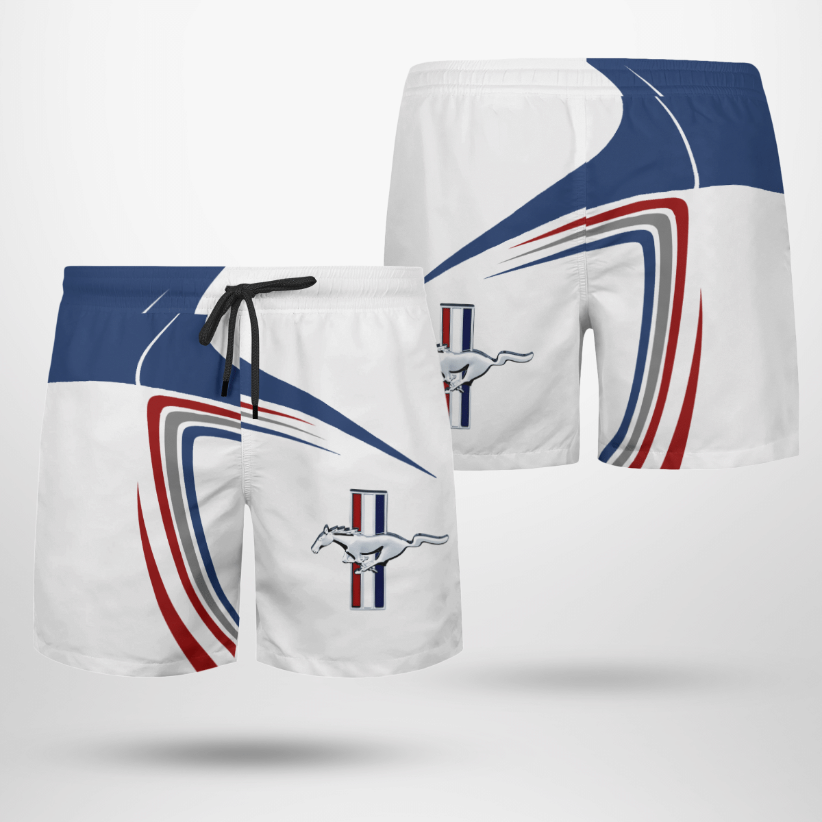 Ford Mustang white Beach Shorts