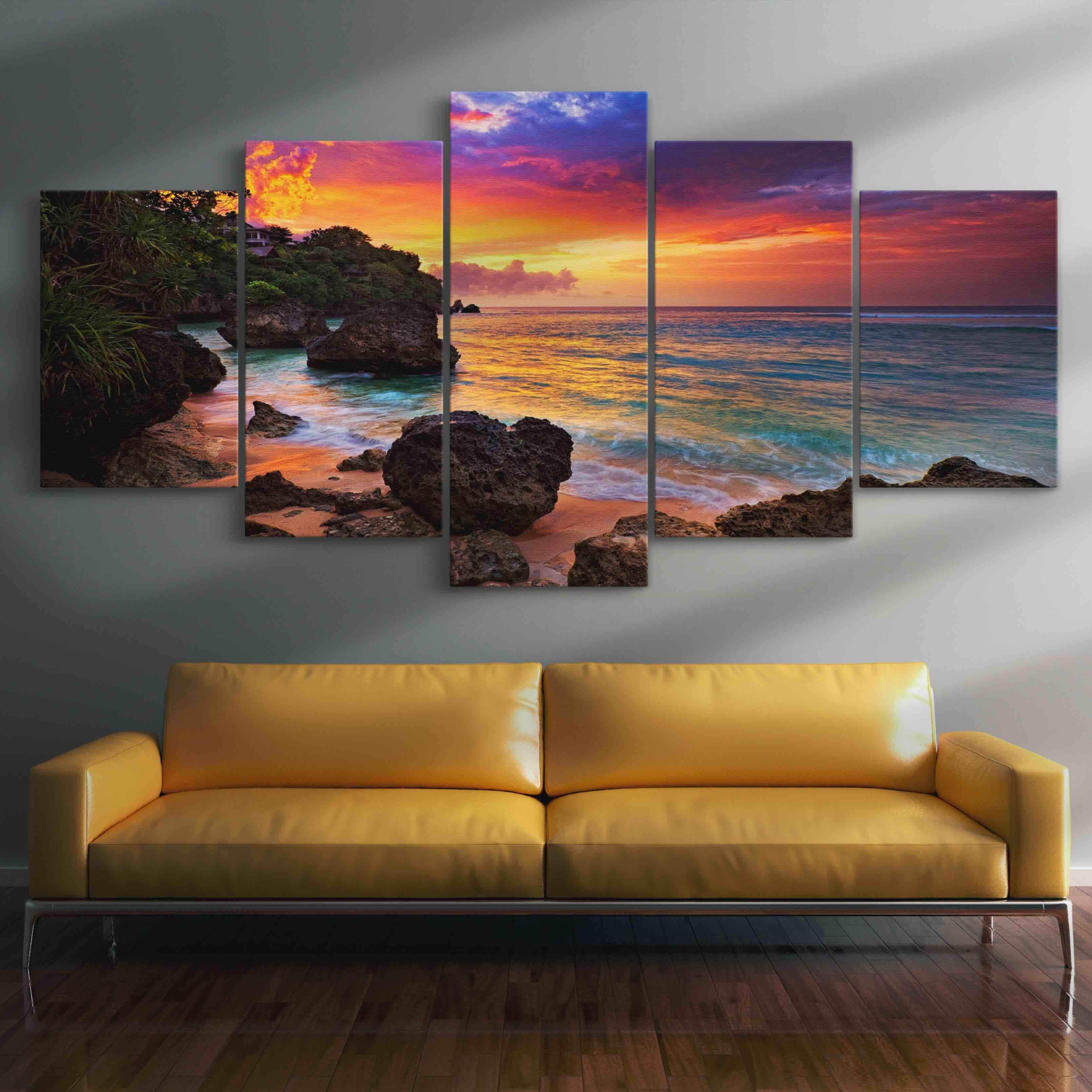 Sunset Beach Romance 5 panel wall art canvas