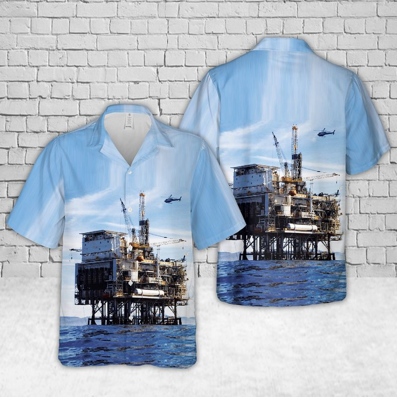 Oil Platform Harvest Offshore oil and gas in California Blue Hawaiian Shirt