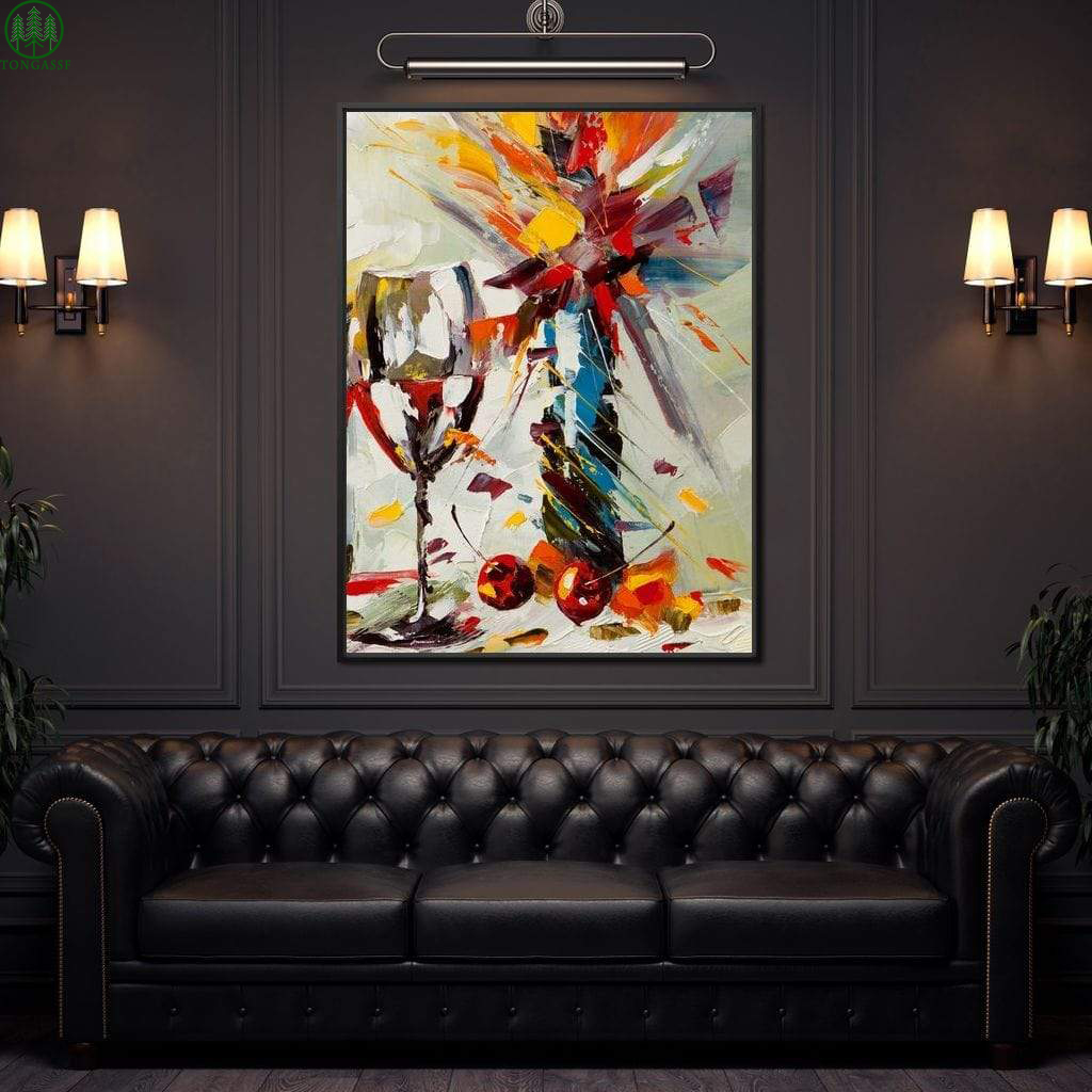Oil paint Wine and Flowers canvas