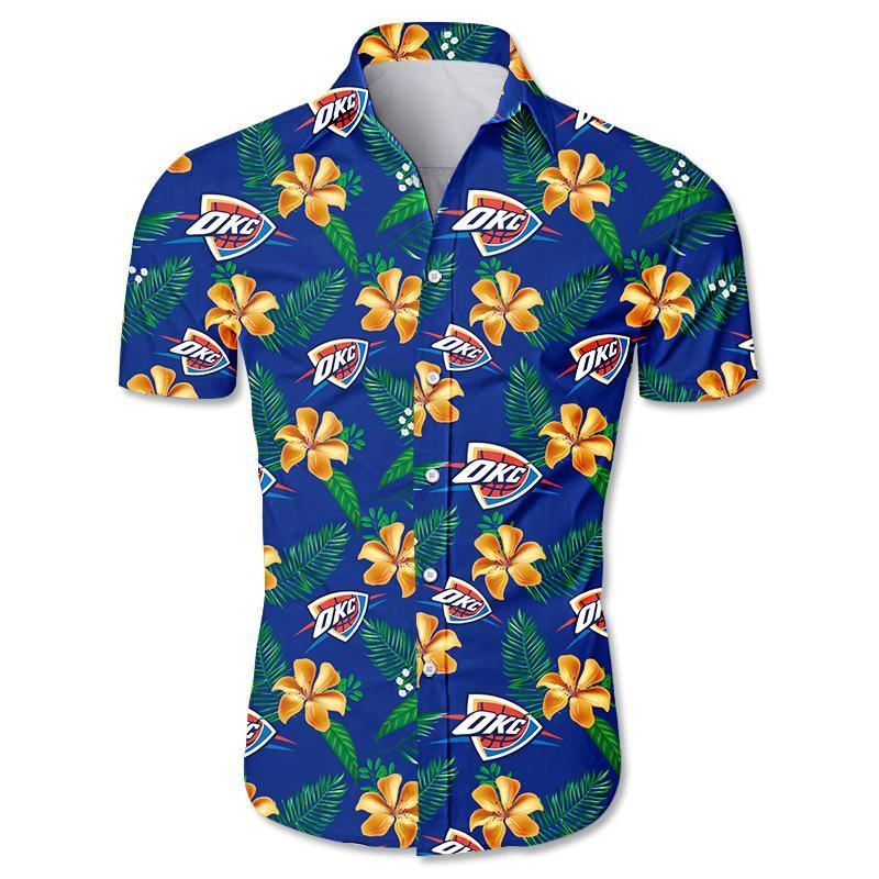 NBA Oklahoma City Thunder Floral Hawaiian Shirt Small Flowers