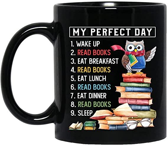 Owl perfect day reading book mug