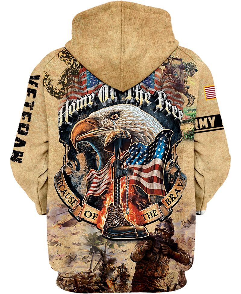 ARMY VETERAN Eagle Home of the Free 3D shirt
