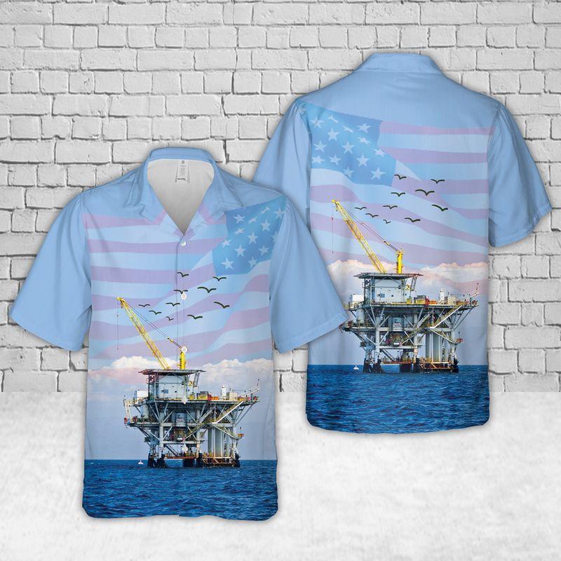 Offshore Drilling Rig US flag Hawaiian Shirt