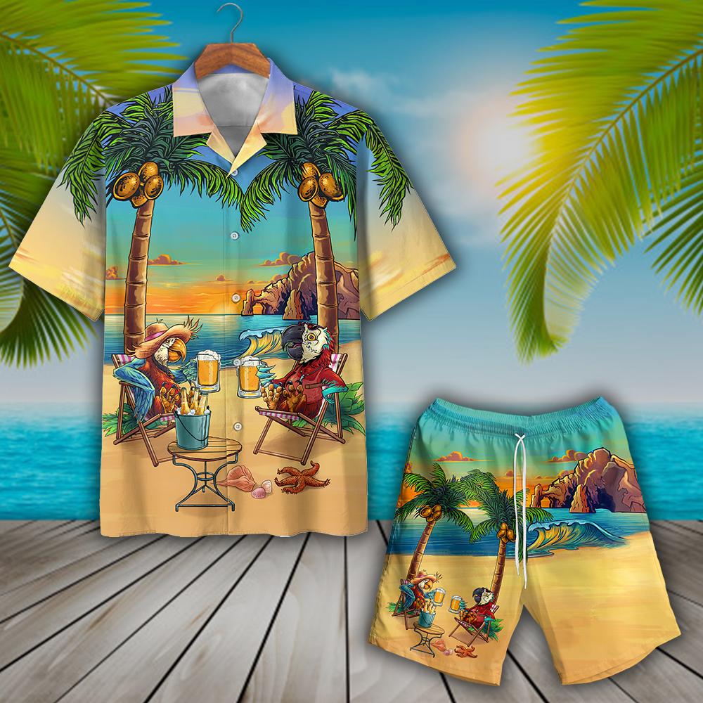Parrot Party On The Beach Hawaiian Shirt
