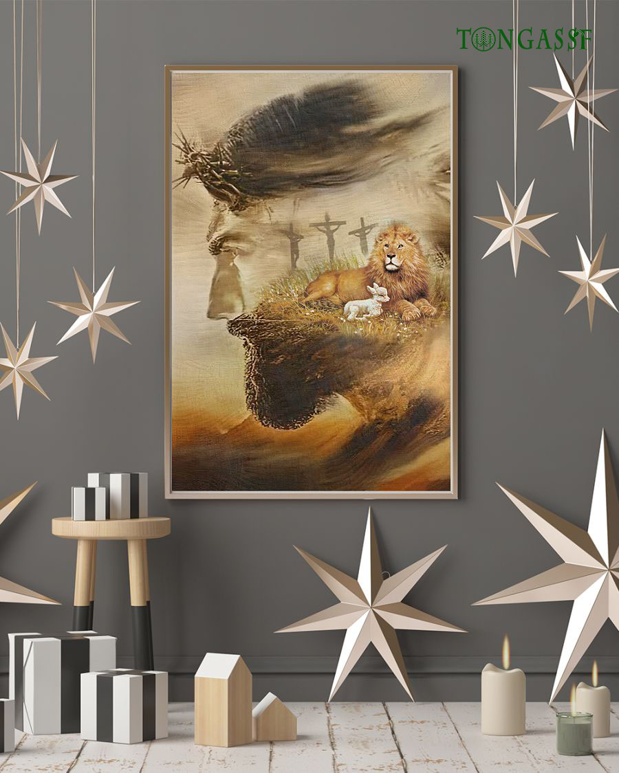 Peace on Earth for the lion and the Lamb Jesus poster