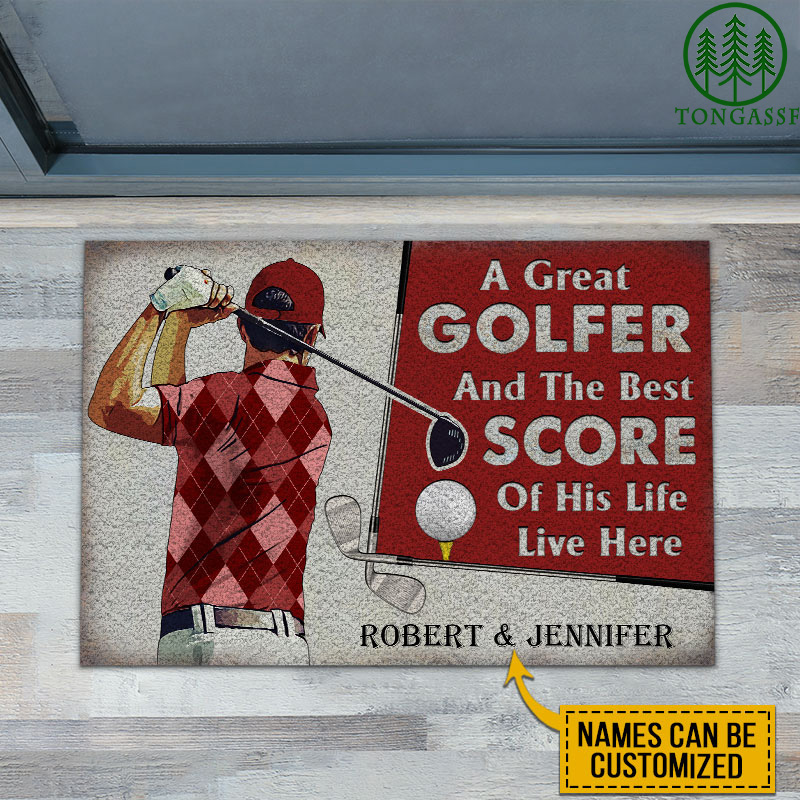 Personalized A Great Golfer Couple Live Here Doormat