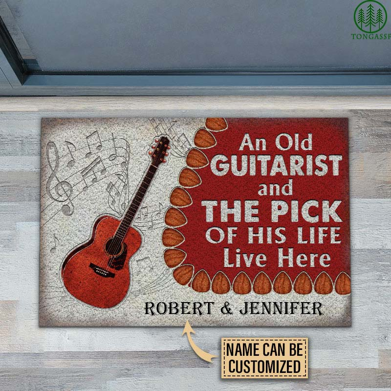 Personalized Acoustic Old Couple Live Here Doormat