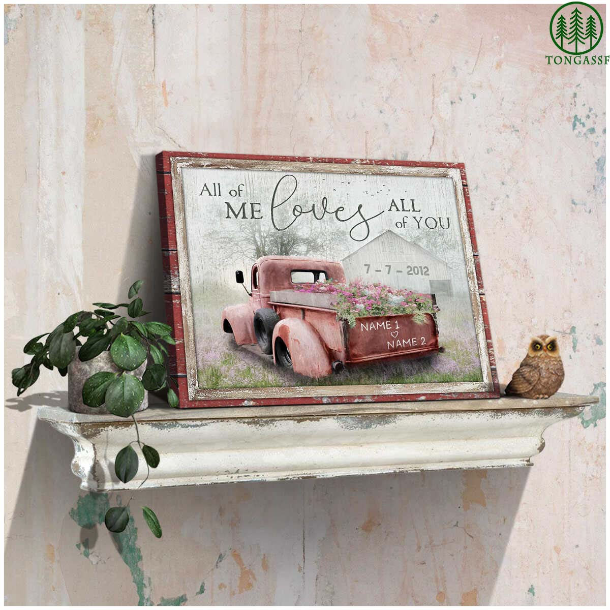 Personalized All Of Me Loves All Of You Barn and Flower Truck Canvas