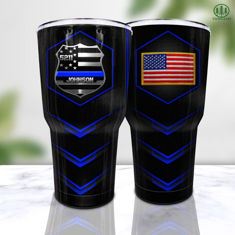 Personalized American Police Badge Tumbler